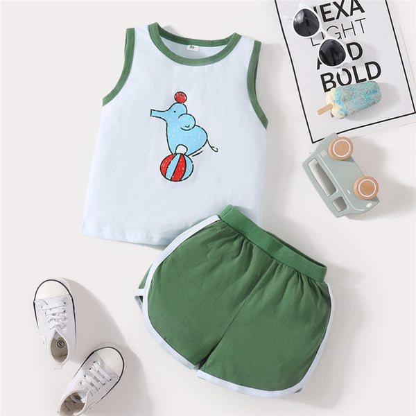 Baby Boys Sleeveless Elephant Printed Top & Shorts Wholesale Baby Clothes