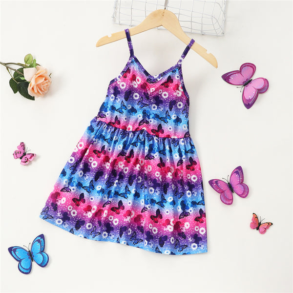 Girls Sleeveless Fashion Butterfly Printed Sling Dress childrens wholesale clothing