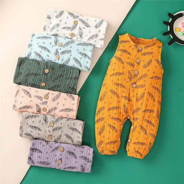 Baby Unisex Sleeveless Feather Printed Romper wholesale baby clothing
