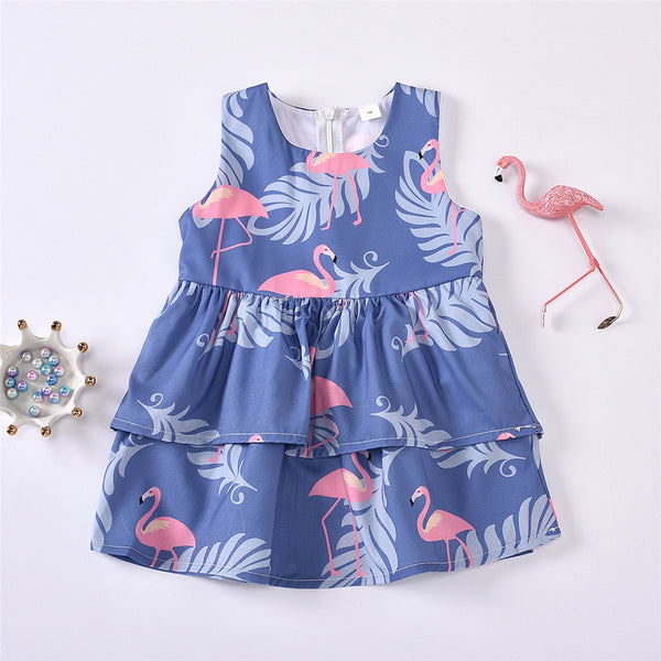 Baby Girls Sleeveless Flamingo Leaves Printed Dress Boutique Baby Clothes Wholesale