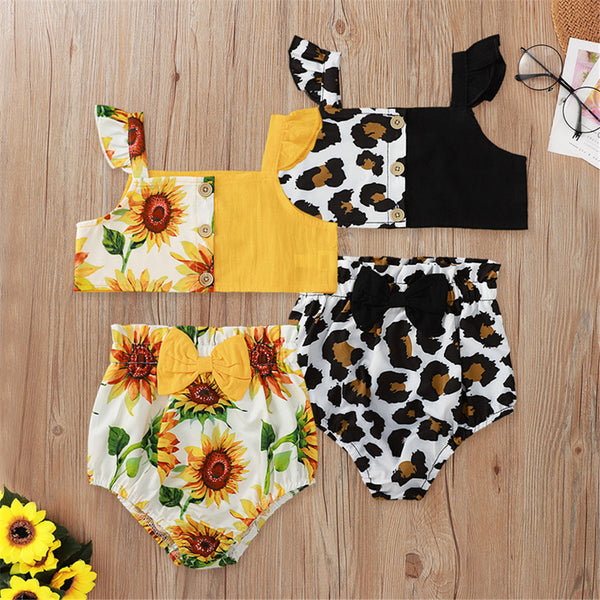 Baby Girls Sleeveless Floral Leopard Top & Shorts Baby Boutique Clothing Wholesale