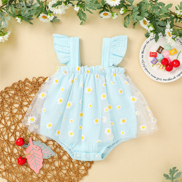 Baby Girls Sleeveless Floral Mesh Romper cheap baby clothes wholesale