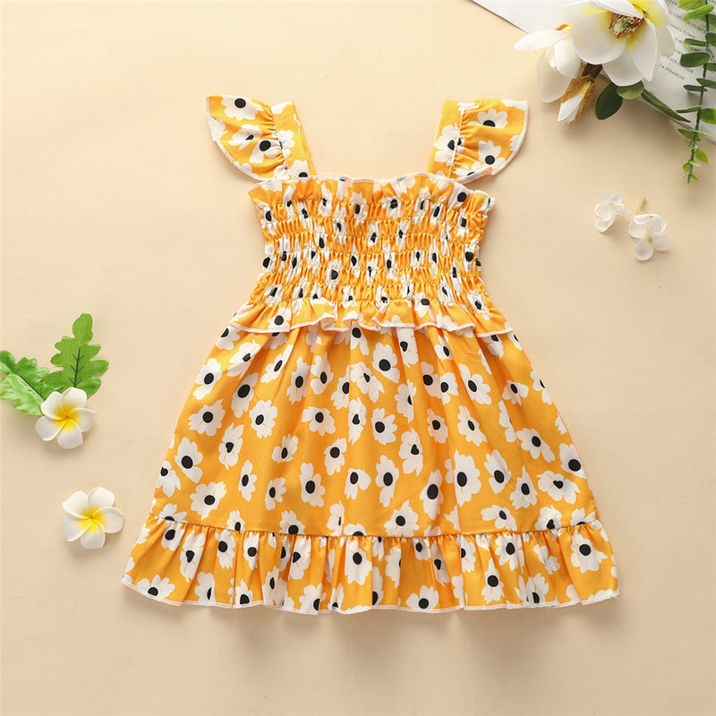 Baby Girls Sleeveless Floral Printed Dress Boutique Baby Clothes Wholesale