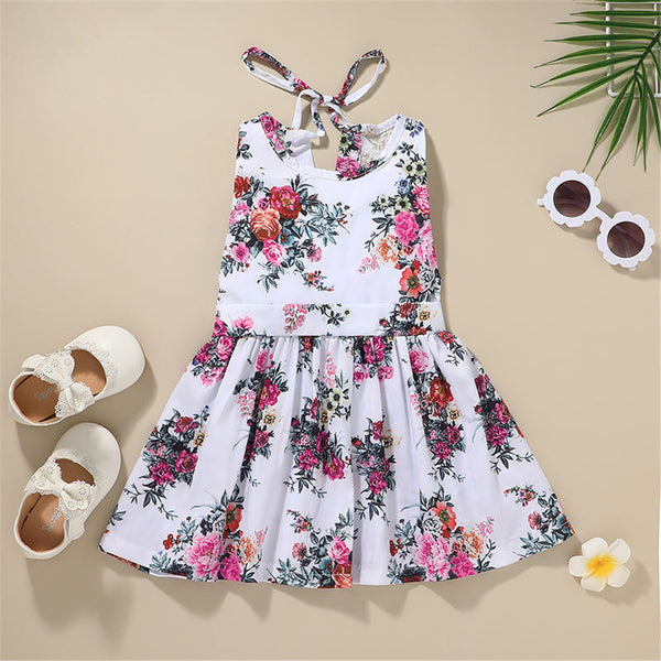 Girls Sleeveless Floral Printed Dress Wholesale Boutique Clothes For Kids