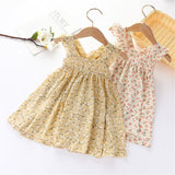 Girls Sleeveless Floral Printed Dress trendy kids wholesale clothing