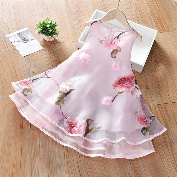 Girls Sleeveless Floral Printed Layered Puffy Dress wholesale girls clothes