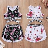 Girls Sleeveless Floral Printed Letter Love Tracksuit Wholesale Clothing For Children