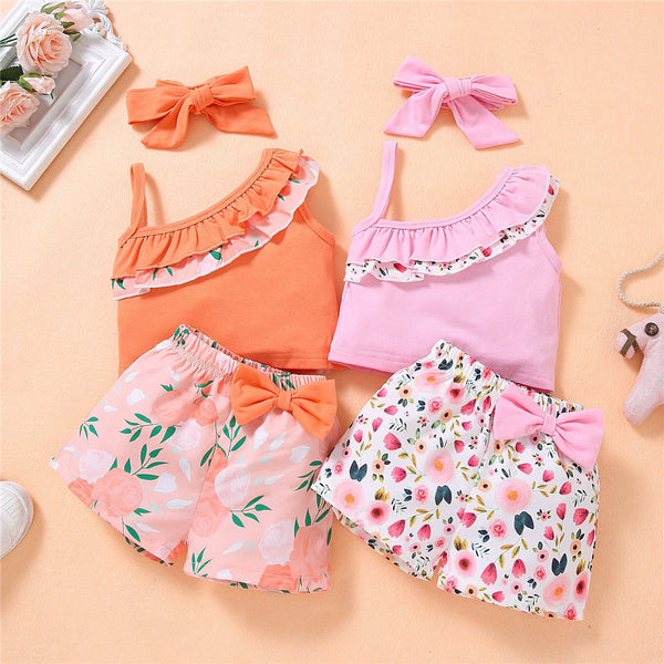 Girls Sleeveless Floral Printed Oblique Top & Shorts & Headband wholesale toddler clothing
