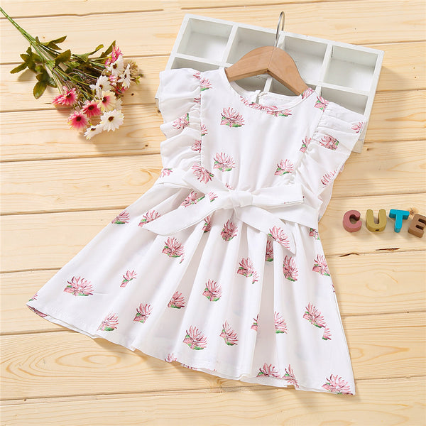 Girls Sleeveless Floral Printed Pleated Belt Dress quality children's clothing wholesale