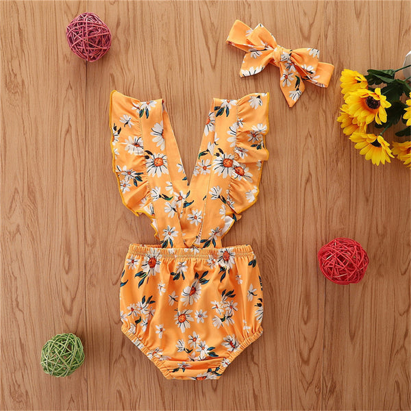 Baby Girls Sleeveless Floral Printed Romper & Headband Wholesale Baby Clothes