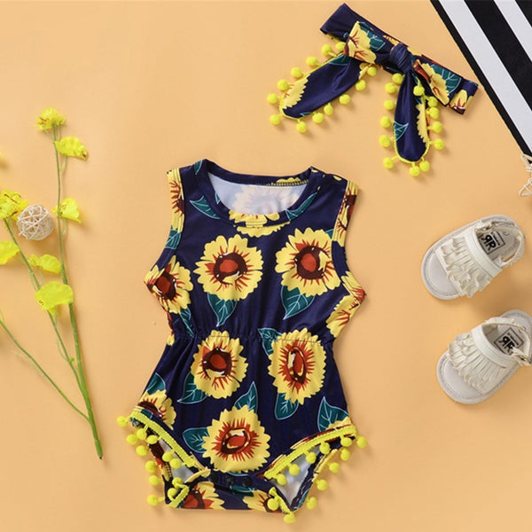 Baby Girls Sleeveless Floral Printed Romper & Headband baby clothes wholesale usa