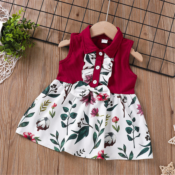 Baby Girls Sleeveless Floral Printed Splicing Dress baby clothes wholesale distributors