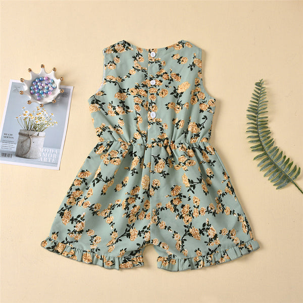 Girls Sleeveless Floral Printed Summer Jumpsuit Bulk Kids Clothes