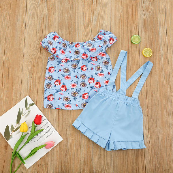 Girls Sleeveless Floral Printed Top & Shorts Girl Boutique Clothing Wholesale