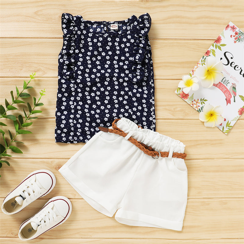 Girls Sleeveless Floral Printed Top & Shorts Wholesale Girl Clothing