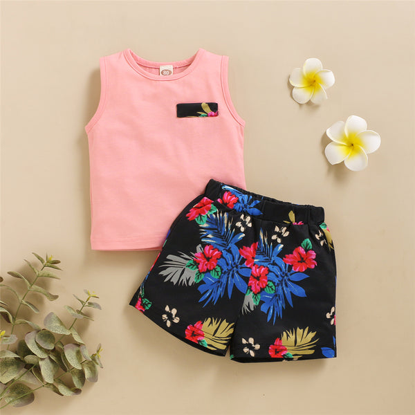 Boys Sleeveless Floral Printed Top & Shorts childrens wholesale clothing