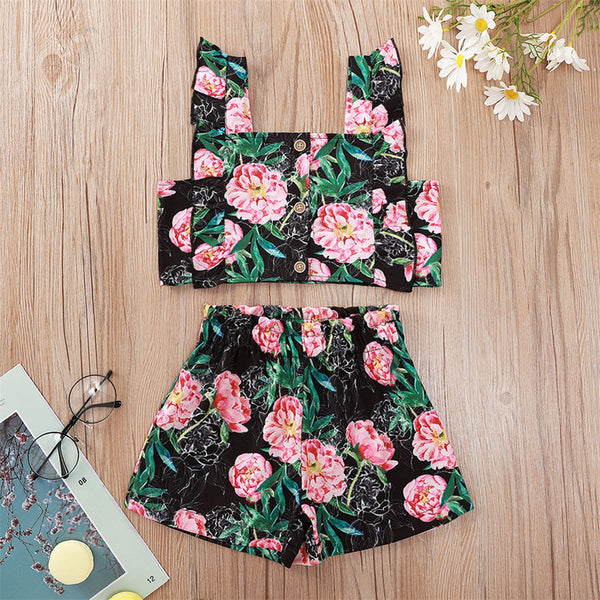 Girls Sleeveless Floral Printed Top & Shorts wholesale kids clothing suppliers