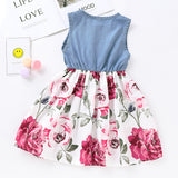 Girls Sleeveless Floral Splicing Casual Dress Wholesale Clothing For Girls