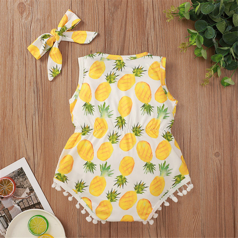 Baby Girls Sleeveless Fruit Printed Tassel Romper & Headband Baby Boutique Clothing Wholesale