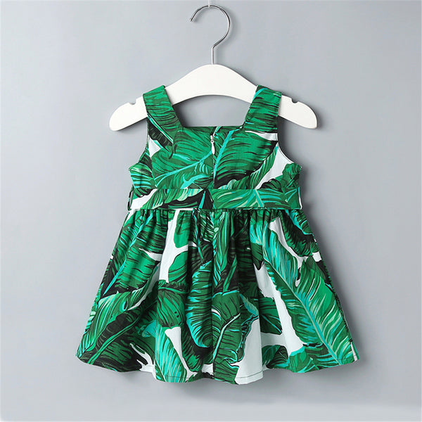 Baby Girls Sleeveless Green Leaf Printed Dress baby clothes wholesale distributors