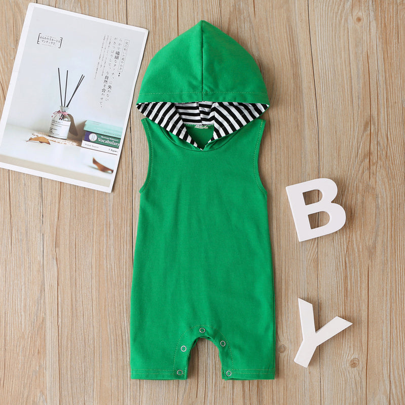 Baby Boys Sleeveless Hooded Romper Baby Clothes Cheap Wholesale