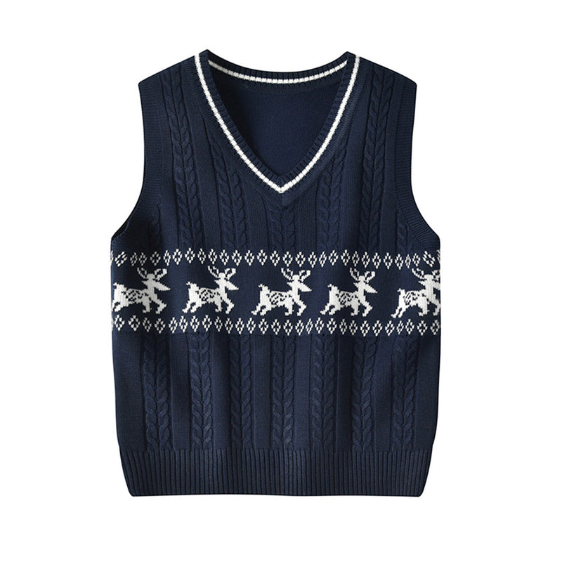 Girls Sleeveless Knitted Elk Print Vest Sweaters