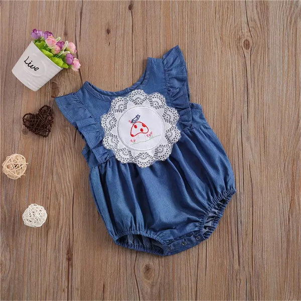Baby Girls Sleeveless Lace Cartoon Romper Wholesale Baby Clothes