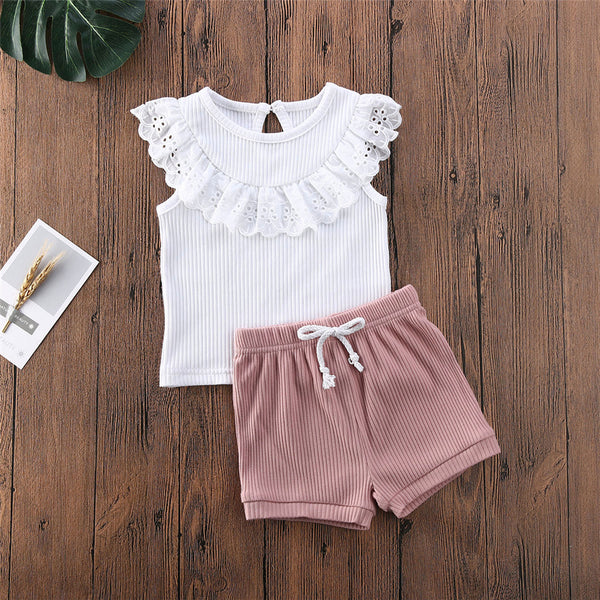 Girls Sleeveless Lace Solid Top & Shorts children wholesale clothing