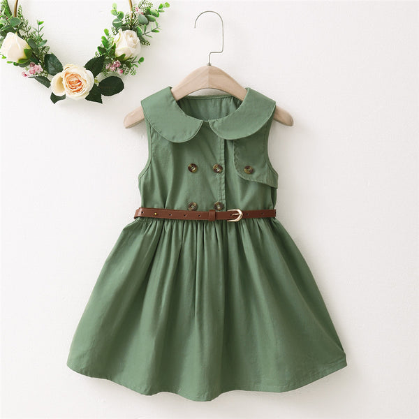 Girls Sleeveless Lapel Green Princess Dress kids wholesale clothing