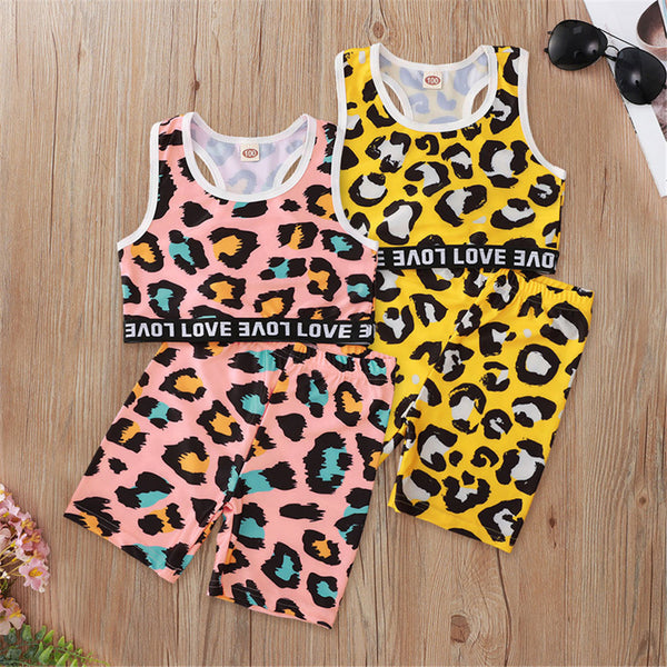 Girls Sleeveless Leopard Letter Printed Top & Shorts Wholesale Little Girl Boutique Clothing