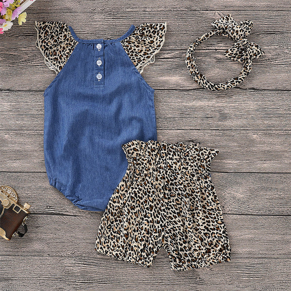 Girls Sleeveless Leopard Printed Romper & Shorts & Headband Toddler Girls Wholesale