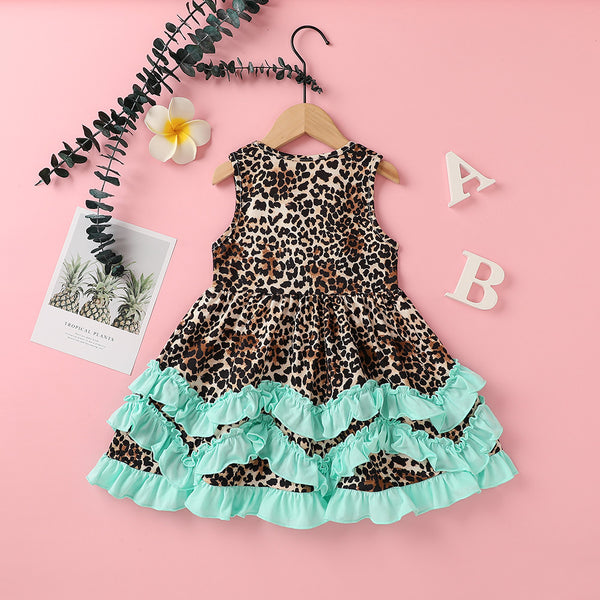 Girls Sleeveless Leopard Printed Ruffled Dress Cheap Childrens Clothes Wholesale