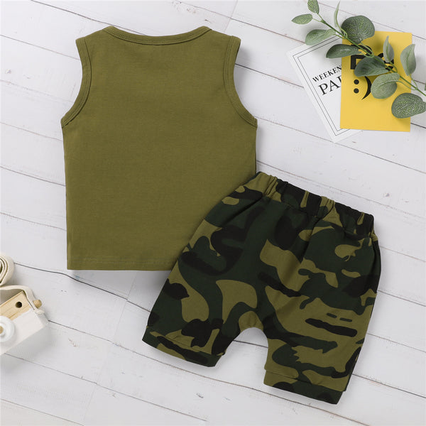 Baby Boys Sleeveless Letter Little Man Printed Top & Camouflage Shorts baby boy clothes wholesale