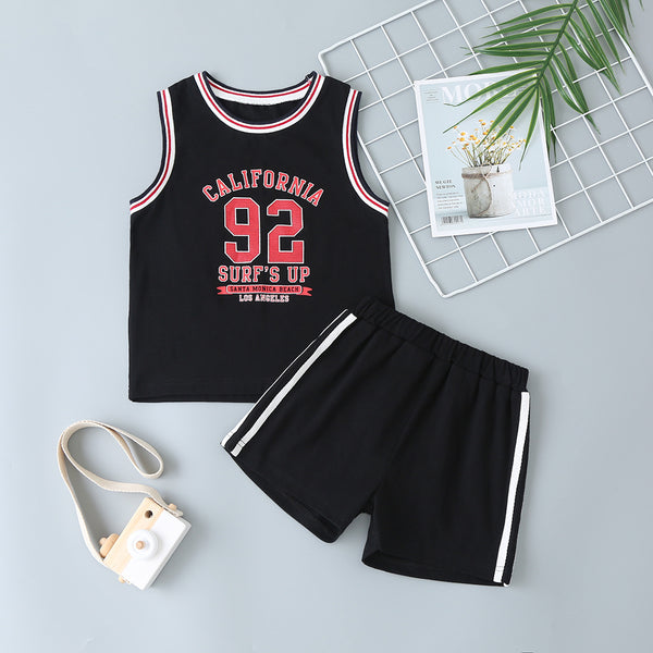 Boys Sleeveless Letter Number Printed Tracksuit wholesale boy boutique clothes