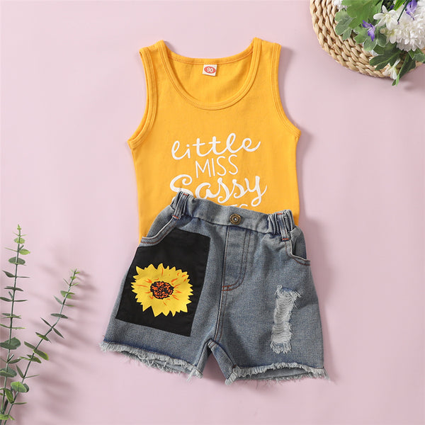 Girls Sleeveless Letter Printed Floral Top & Denim Shorts kids clothing wholesale