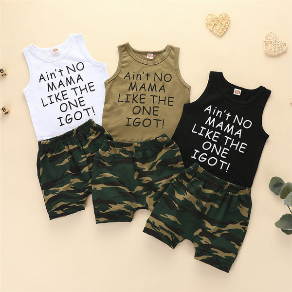 Baby Boys Sleeveless Letter Printed Top & Camo Shorts Baby Clothes Cheap Wholesale