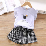 Girls Sleeveless Letter Printed Top & Plaid Skirt childrens wholesale clothing