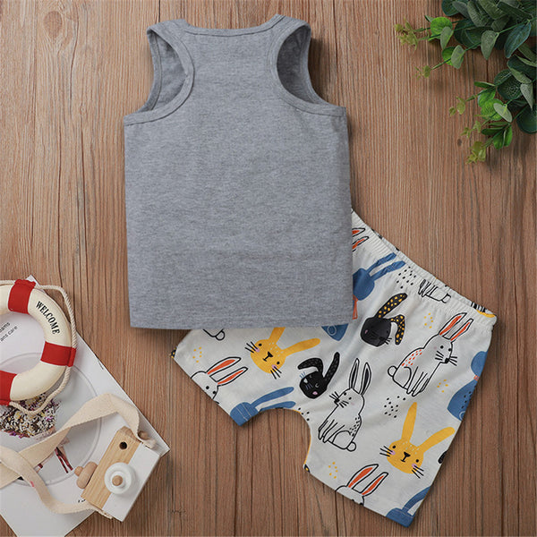 Boys Sleeveless Letter Printed Top & Rabbit Printed Shorts Boy Clothes Wholesale