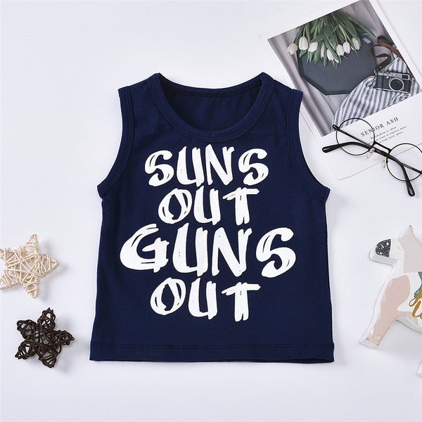 Unisex Sleeveless Letter Sun Out Printed Top Children Clothing Wholesale Usa