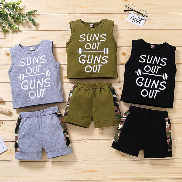 Boys Sleeveless Letter Suns Out Printed Vest & Camo Shorts wholesale boy boutique clothes