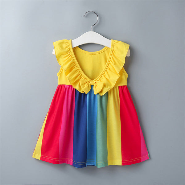 Baby Girls Sleeveless Lotus Collar Striped Dress Wholesale Baby Clothes