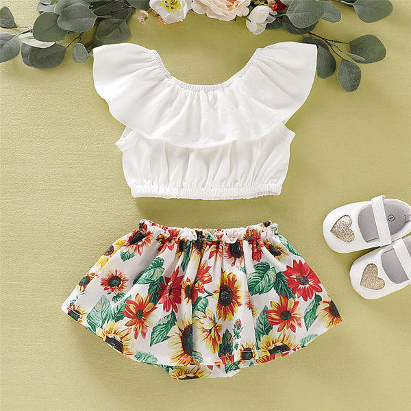 Baby Girls Sleeveless Lotus Leaf  Collar Top & Floral Button Wholesale Baby Clothes In Bulk