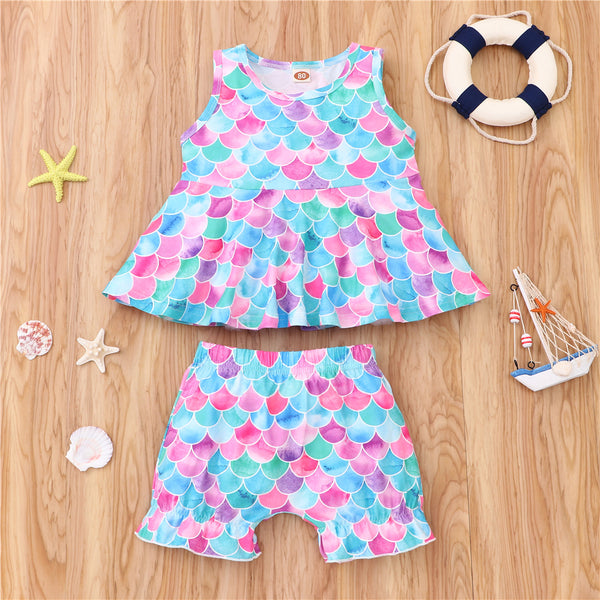 Girls Sleeveless Mermaid Printed Top & Shorts wholesale kids boutique clothing