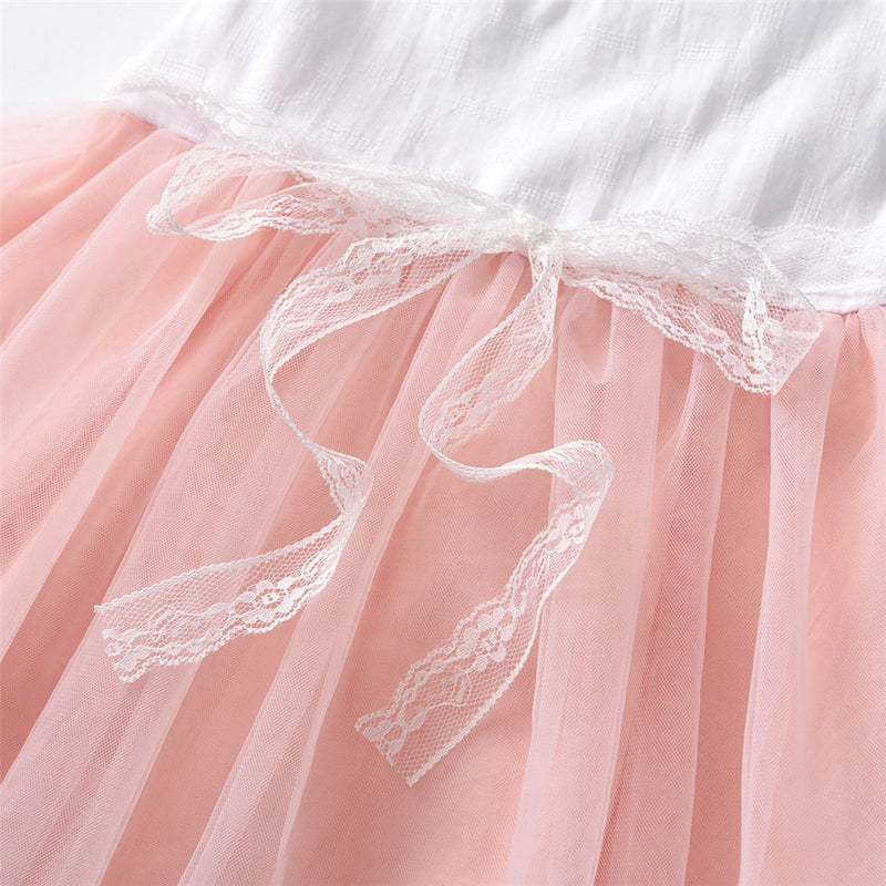Girls Sleeveless Mesh Splicing Princess Dress Wholesale Little Girl Clothing