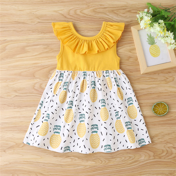 Baby Girls Sleeveless Pineapple Splicing Dress baby clothes wholesale