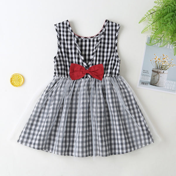 Girls Sleeveless Plaid Bow Mesh Dress Girls Boutique Clothing Wholesale