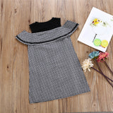 Girls Sleeveless Plaid Button Summer Dress Wholesale Little Girl Boutique Clothing