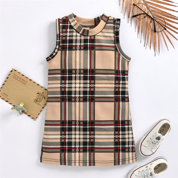 Girls Sleeveless Plaid Casual Dress kids clothes wholesale