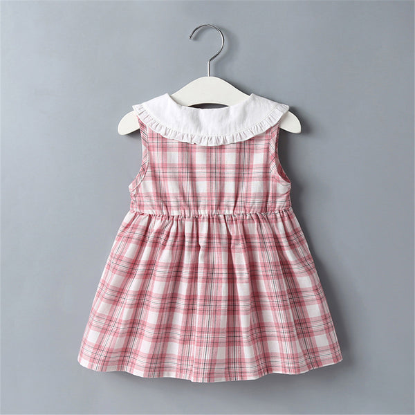 Baby Girls Sleeveless Plaid Doll Collar Dress Baby Clothes Wholesale Bulk