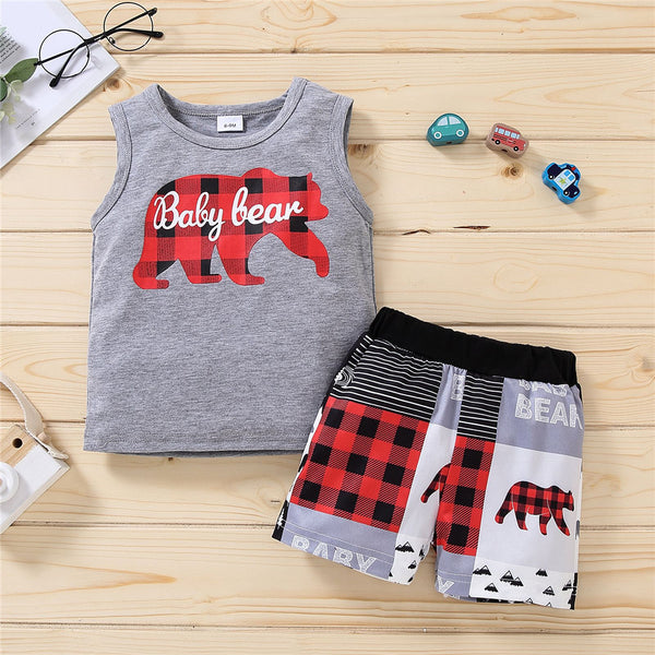 Boys Sleeveless Plaid Letter Baby Bear Printed Top & Shorts Wholesale Toddler Boy Clothing